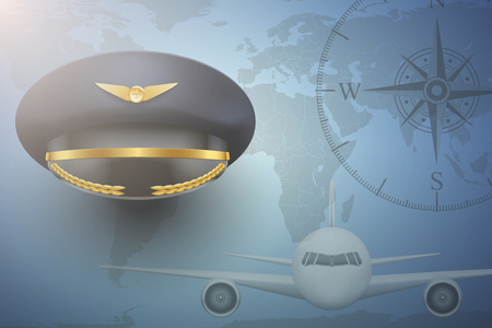 piloto: Piloto de aviones fondo de la aviación civil. Gorra de visera en el mapa. Ilustración editable.
