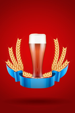 malt: Brewery Label Glass with red beer Ale and grain malt. Poster and background.  Illustration.