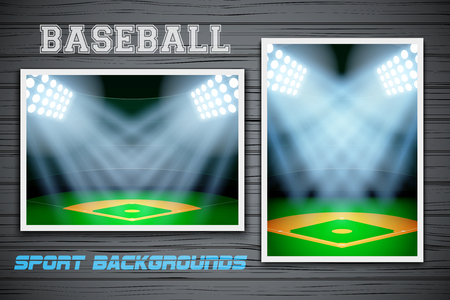orientation: Set Backgrounds of night baseball stadium. Horizontal and vertical orientation. Editable Vector Illustration.