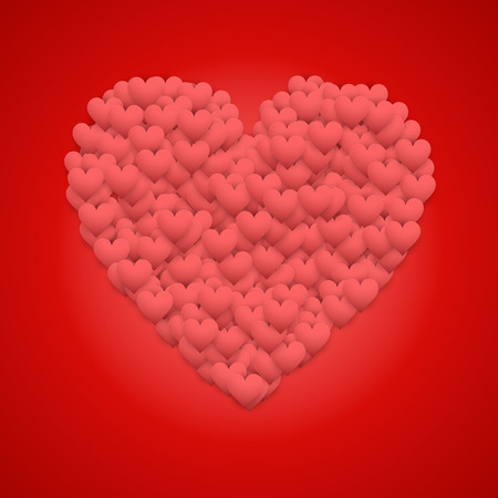 greetings card: Red Valentines day background with big heart. Vector Illustration.