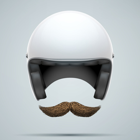 motorcyclist: Motorcyclist symbol with mustache. Vector Illustration isolated on white background.
