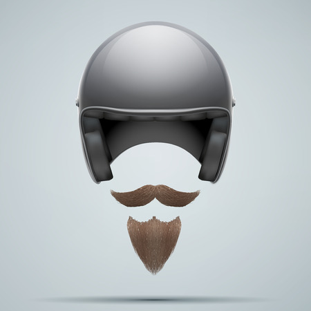 motorcyclist: Motorcyclist symbol with mustache and beard. Vector Illustration isolated on white background.