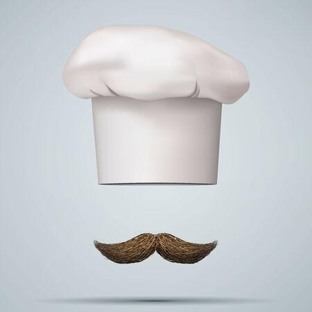 gastronome: Symbol of chef cap toque and mustache. Haute cuisine. Vector illustrations.