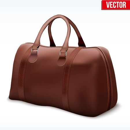 brown leather: Classic Stylish Leather Brown Handle Bag. Perspective view of Fashion accessory. Vector illustration Isolated on white background.