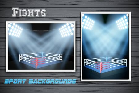 vertical orientation: Set Backgrounds of night boxing or fight prize arena. Horizontal and vertical orientation. Editable Vector Illustration.