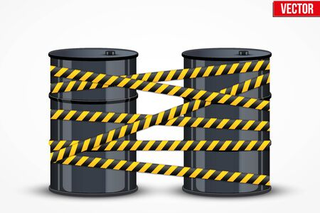 stock quotes: Oil barrels with danger lines. Vector Illustration.
