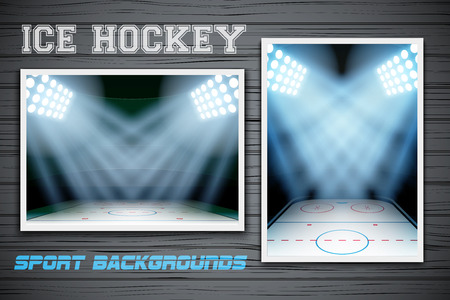 affiche: Set Backgrounds of ice hockey arena. Horizontal and vertical orientation. Editable Vector Illustration. Illustration