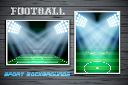 affiche: Set Backgrounds of night football stadium. Horizontal and vertical orientation. Editable Vector Illustration. Illustration