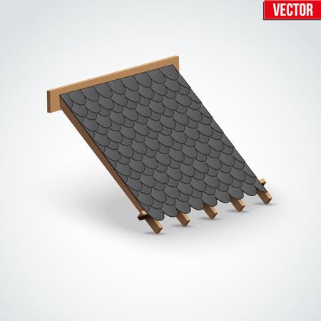 shingles: demostraci�n icono de tejas negras cubierta del techo en el techo. Ilustraci�n del vector aislado en el fondo blanco. Vectores