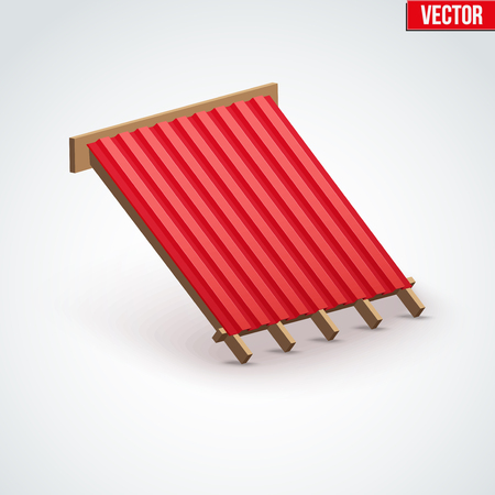 covering cells: Icon demonstration red metal roofing cover on the roof.  Vector Illustration isolated on white background.