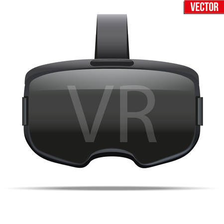 headset: Original stereoscopic 3d vr headset. Front view. Vector illustration Isolated on white background.