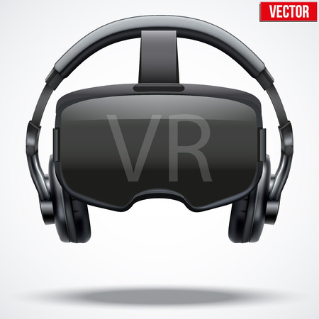 virtual reality simulator: Original stereoscopic 3d vr mask with headphones. Front view. Vector illustration Isolated on white background. Illustration