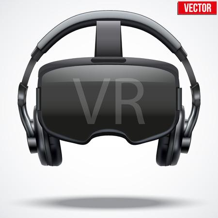Originele stereoscopische 3D-vr masker met een koptelefoon. Vooraanzicht. Vector illustratie die op een witte achtergrond.