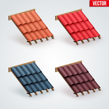 shingles: Set of Icons demonstration many color ceramic tiles cover on the roof.  Vector Illustration isolated on white background.