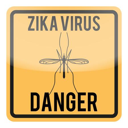 detected: Zika virus warning square sign. Vector illustration Isolated on white background.