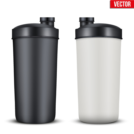 gainer: Mockup Plastic Sport Nutrition Drink Bottle. Whey Protein and Gainer. Vector Illustration isolated on white background