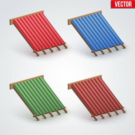 roofing: Set of Icons demonstration red metal roofing cover on the roof.  Vector Illustration isolated on white background.