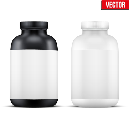 Mockup Sport Vitamin Container. Black and White Plastic Jar. Vector Illustration isolated on white background