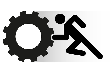 pushes: People pushes tire wheel on training. Simple symbol of crossfit workout. Illustration isolated on a white background. Illustration