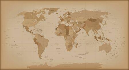 Carte du monde Vintage. illustration isolé sur fond blanc.