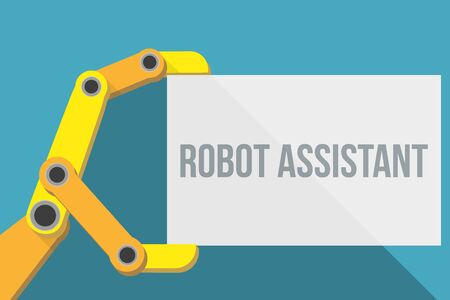 automaton: Robot hand holding blank sign with space for text. Flat Design. Illustration isolated on background.