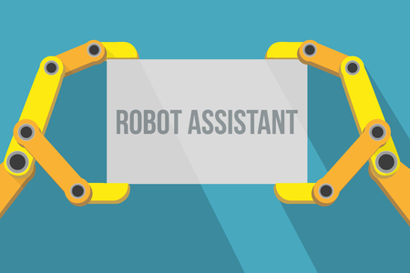 automaton: Robot hands holding blank sign with space for text. Flat Design. Illustration isolated on background. Illustration