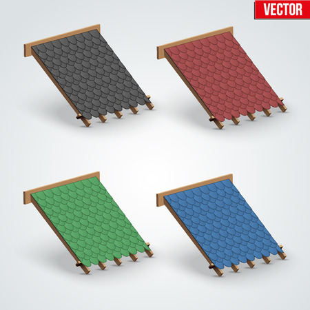 roofing: Set of Icons demonstration bitumen shingles roofing cover on the roof.  Illustration isolated on white background. Illustration