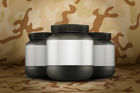 gainer: Mockup Background of Sport Nutrition Container. Black Plastic Whey Protein and Gainer. Vector Illustration on desert camo  background