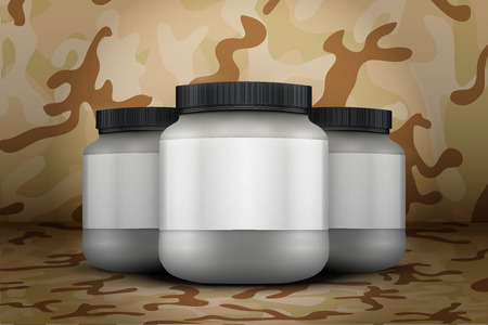 gainer: Mockup Background of Sport Nutrition Container. Silver Plastic Whey Protein and Gainer. Vector Illustration on desert camo  background Illustration