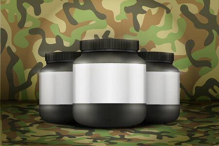 gainer: Mockup Background of Sport Nutrition Container. Black Plastic Whey Protein and Gainer. Vector Illustration on woodland camo background