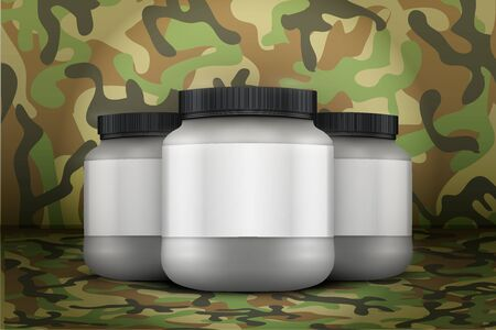 camo: Mockup Background of Sport Nutrition Container. Silver Plastic Whey Protein and Gainer. Vector Illustration on woodland camo background