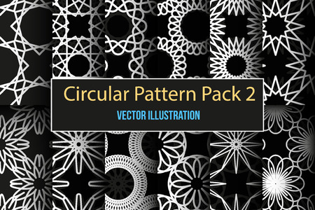 carving: Set of 12 round and circular decorative seamless patterns. It can be used for laser cutting and carving. Vector illustration.