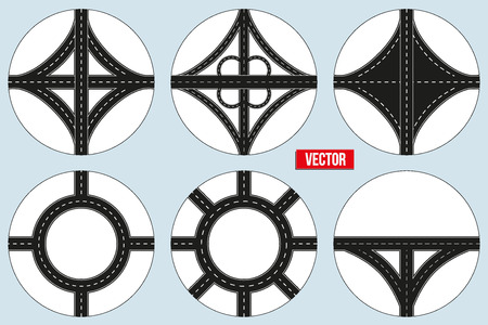 cross roads: Set of Sample Main road junction. Vector Illustration isolated on white background.