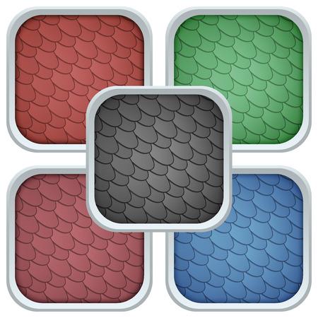 shingles: Conjunto de iconos del cuadrado asfalto culebrilla cubierta del techo. Ilustraci�n del vector aislado en el fondo blanco.
