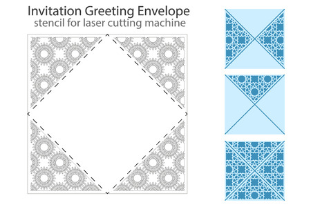 package printing: Envelope template For Laser cutting. Square format. Die of wedding and invitation card. Vector Illustration isolated on white background. Illustration