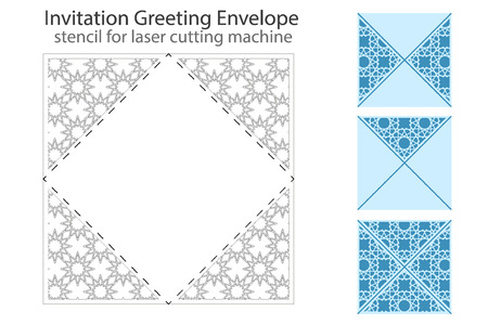 die: Envelope template For Laser cutting. Square format. Die of wedding and invitation card. Vector Illustration isolated on white background. Illustration