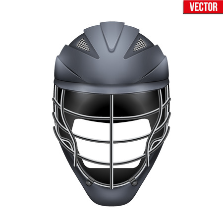 headshot: Black Lacrosse Helmet Front View. Sport goods and equipment. Vector Illustration isolated on white background.