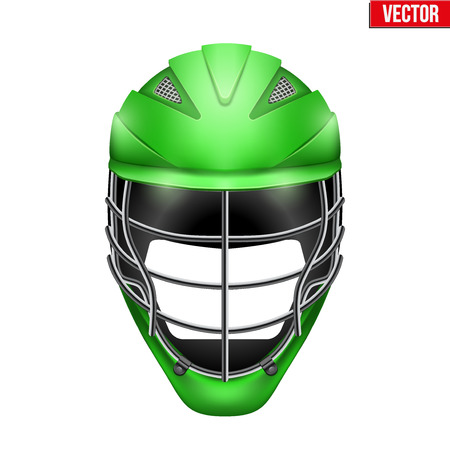 headshot: Green Lacrosse Helmet Front View. Sport goods and equipment. Vector Illustration isolated on white background.