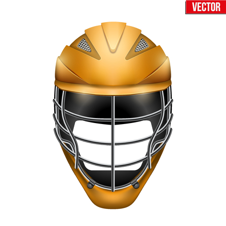 headshot: Orange Lacrosse Helmet Front View. Sport goods and equipment. Vector Illustration isolated on white background. Illustration