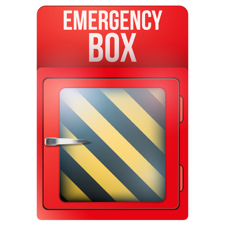 calamity: Empty red emergency box with in case of emergency breakable glass. Square format. Vector illustration Isolated on white background. Editable.