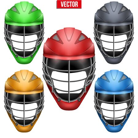 Lacrosse Helmets Set Front View. Sport goods and equipment. Vector Illustration isolated on white background. 向量圖像