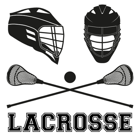 Lacrosse helmets and sticks and ball. Flat and silhouette style. Sport Equipment Front and Side View. Vector illustration isolated on white background.