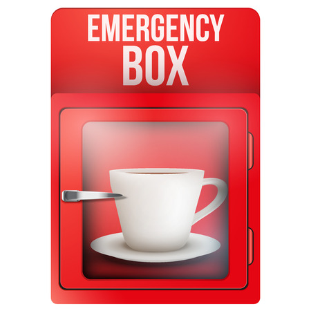 breakable: Red emergency box with cup of coffee. Vector Illustration isolated on white background.