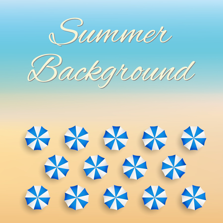 deserted: Beach background with sun umbrellas. Summer sunny illustration. Vector Illustration.