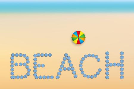 deserted: The word Beach is made up of sun umbrellas. Summer sunny illustration. Vector Illustration Illustration
