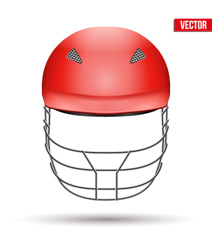 cricket helmet: Red Classic Cricket Helmet Front View. Sport symbol and equipment. Vector Illustration isolated on white background.