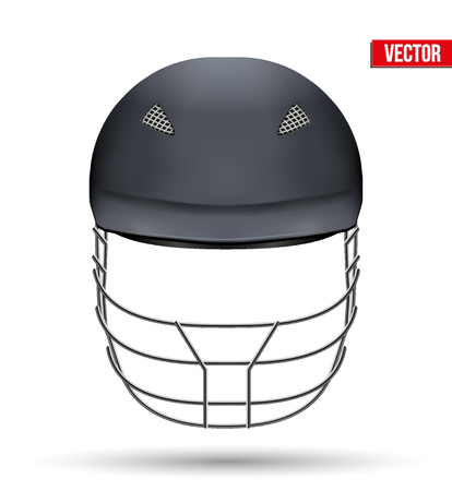 cricket helmet: Black Classic Cricket Helmet Front View. Sport symbol and equipment. Vector Illustration isolated on white background.