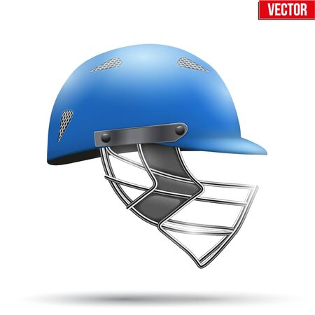 cricket helmet: Blue Classic Cricket Helmet Side View. Sport symbol and equipment. Vector Illustration isolated on white background.