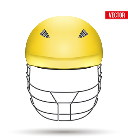 cricket helmet: Yellow Classic Cricket Helmet Front View. Sport symbol and equipment. Vector Illustration isolated on white background. Illustration