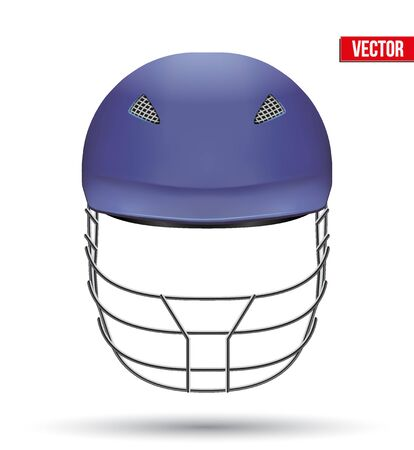 cricket helmet: Blue Classic Cricket Helmet Front View. Sport symbol and equipment. Vector Illustration isolated on white background.